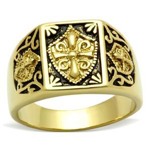 Gold Tone Antique Finish Religious Cross Men's Ring - SIZE 8 TO 13 image 2