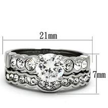 Never Fade Stainless Steel CZ Engagement & Wedding Ring Set Sizes - 5 to 10 image 3