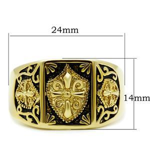 Gold Tone Antique Finish Religious Cross Men's Ring - SIZE 8 TO 13 image 3
