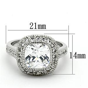 Silver Tone Cushion Cut Cubic Zirconia Engagement Ring - SIZE 5-9 Limited offer image 3