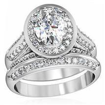 4 Prong Oval Shape CZ Engagement & Wedding Ring Set - SIZE 5 - 10 image 3