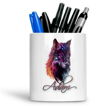 Personalised Any Text Name Ceramic Wolf Pencil Pot Gift Idea Kids Adults 13 - $12.89