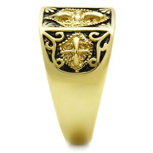 Gold Tone Antique Finish Religious Cross Men's Ring - SIZE 8 TO 13 image 4