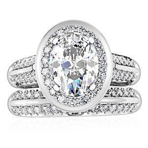 4 Prong Oval Shape CZ Engagement & Wedding Ring Set - SIZE 5 - 10 image 4
