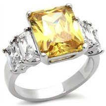 Silver Tone Five Stone Yellow & Clear Cubic Zirconia Ring - SIZE 5 - 10 image 2