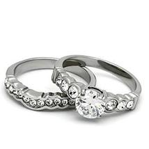 Never Fade Stainless Steel CZ Engagement & Wedding Ring Set Sizes - 5 to 10 image 4