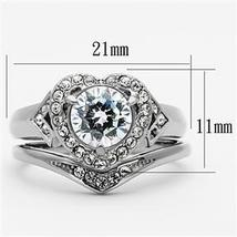 Stainless Steel Heart Shape CZ Engagement Ring & Wedding Ring Set - SIZE 5-10 image 3