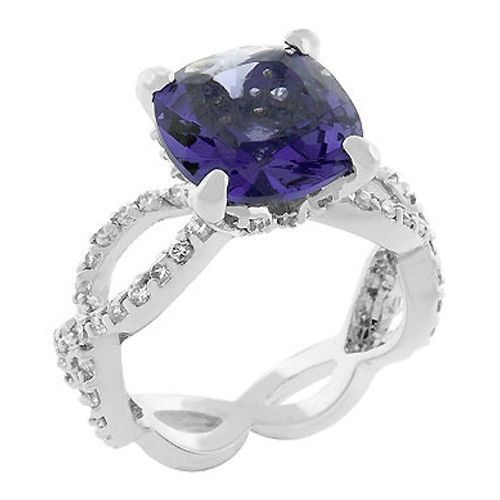 Antique Inspired Cushion Cut Simulated Tanzanite Cubic Zirconia Ring - SIZE 5, 8