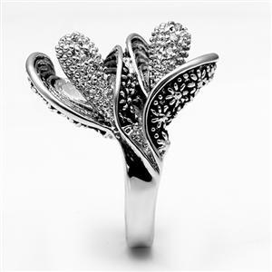 Antique Finish Crystal Calla Lily Flower Ring -  SIZE 5, 6, 8