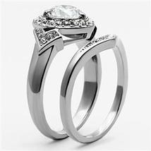Stainless Steel Heart Shape CZ Engagement Ring & Wedding Ring Set - SIZE 5-10 image 4