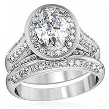 4 Prong Oval Shape CZ Engagement & Wedding Ring Set - SIZE 5 - 10 image 3