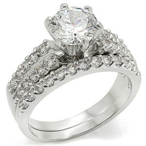 6 Prong & Pave Setting Cubic Zirconia Engagement Wedding Ring Set - SIZE 5 - 10 image 3