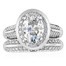 4 Prong Oval Shape CZ Engagement & Wedding Ring Set - SIZE 5 - 10 image 4