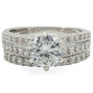 6 Prong & Pave Setting Cubic Zirconia Engagement Wedding Ring Set - SIZE 5 - 10 image 4