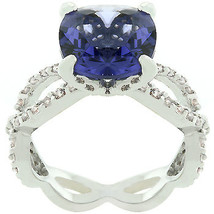 Antique Inspired Cushion Cut Simulated Tanzanite Cubic Zirconia Ring - SIZE 5, 8 image 2