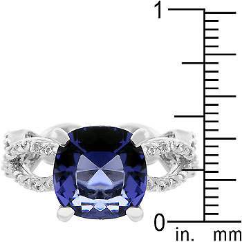 Antique Inspired Cushion Cut Simulated Tanzanite Cubic Zirconia Ring - SIZE 5, 8 image 3