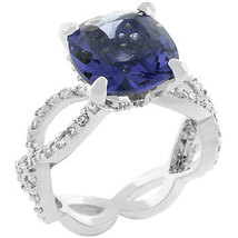 Antique Inspired Cushion Cut Simulated Tanzanite Cubic Zirconia Ring - SIZE 5, 8 image 4