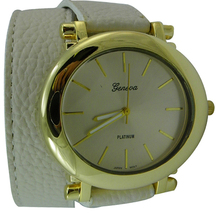 Designer Inspired Faux Grain Leather Wrap Around Fashion Oval Watch   Off White - $27.27
