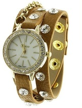 Designer Inspired Chain w/ Czech Rhinestone wrap around watch- CAMEL/GOLD - $31.84