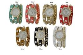 Designer Inspired Chain w/ Czech Rhinestone wrap around watch- CORAL/GOLD - $31.84