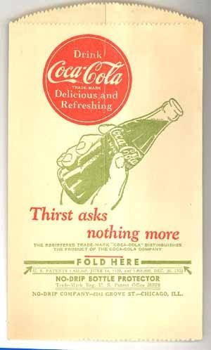 Coke No Drip Co Chicago bottle holder vintage advertising vintage premium