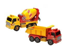 Daesung Toys Super Dump Truck and Concrete Mixer Car Vehicle Heavy Equipment Set