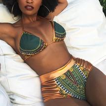 Women's Push Up Padded High Waist Ethnic Print Bikini Swimwear Set image 12