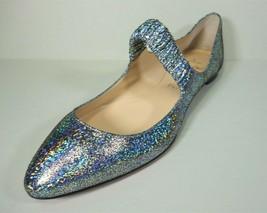 LOUBOUTIN 38.5 M A GILL Metallic Silver Ballerina Ballet Flats Mary Jane... - $388.64