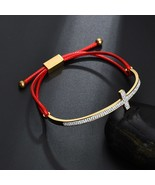 LOVE Simple Christian Cross Charm Red String Adjustable Bracelet Stainle... - $12.90