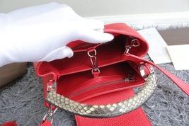 100% Authentic Louis Vuitton CAPUCINES MM Bag Red Taurillon Python image 9