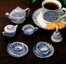 Y733 Crochet PATTERN ONLY Miniature Tea Service Set Tea Pot Creamer Cup ... - $9.50