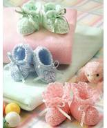 Y734 Crochet PATTERN ONLY Bootie Boutique 3 Sweet Baby Booties Patterns - $9.50