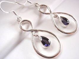 Faceted Iolite Dangle Earrings Sterling Silver Infinity Hoop Everlasting... - $18.56