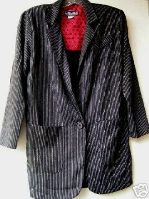 1980'S Black w/Stripe Blazer with Shoulder Pads size Med./Lg.