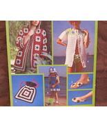 RETRO Granny Squares Crochet Patterns BIKINI JACKET DRESS TOTE BAG SLIPPERS HAT  - $7.99