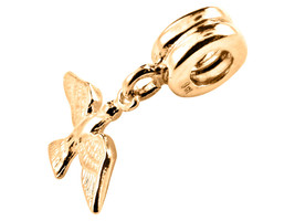 10K Yellow Gold Handmade Holy Spirit Dangle Charm Fits Europ EAN Bracelets - $132.17