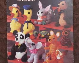 Animal Crochet Patterns Crocheted Panda Bear Elephant Rabbit Turtle Owl Toys Etc - $7.99