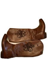 RARE Women Frye Leather Riding Boots Brown Stitched Logo 8 M Zip back tall  - $159.95