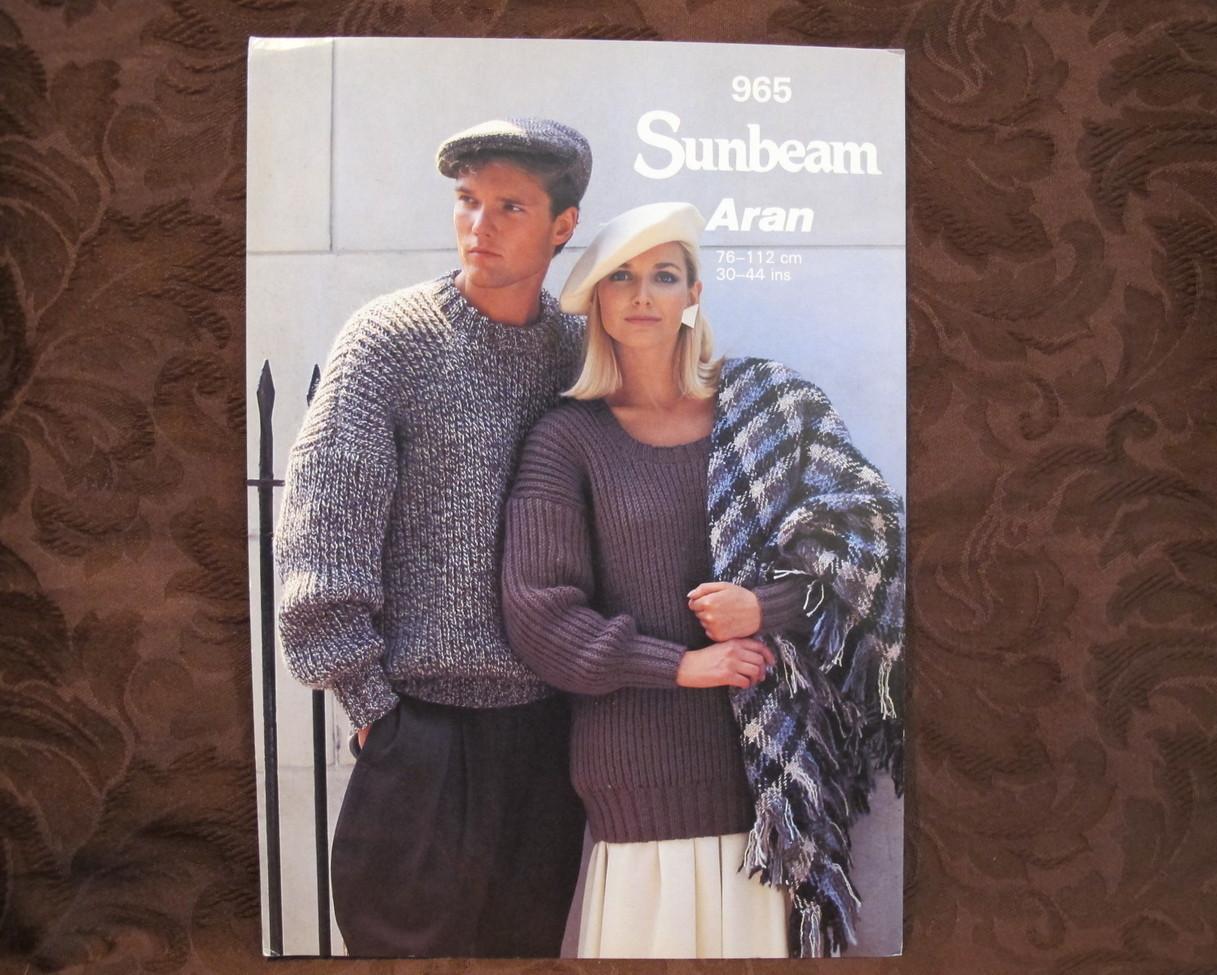 Knitting Patterns Pictures : Sunbeam ARAN ARRAN Knitting Patterns ADULTS FISHERMANS RIBBED Sweater - Patte...