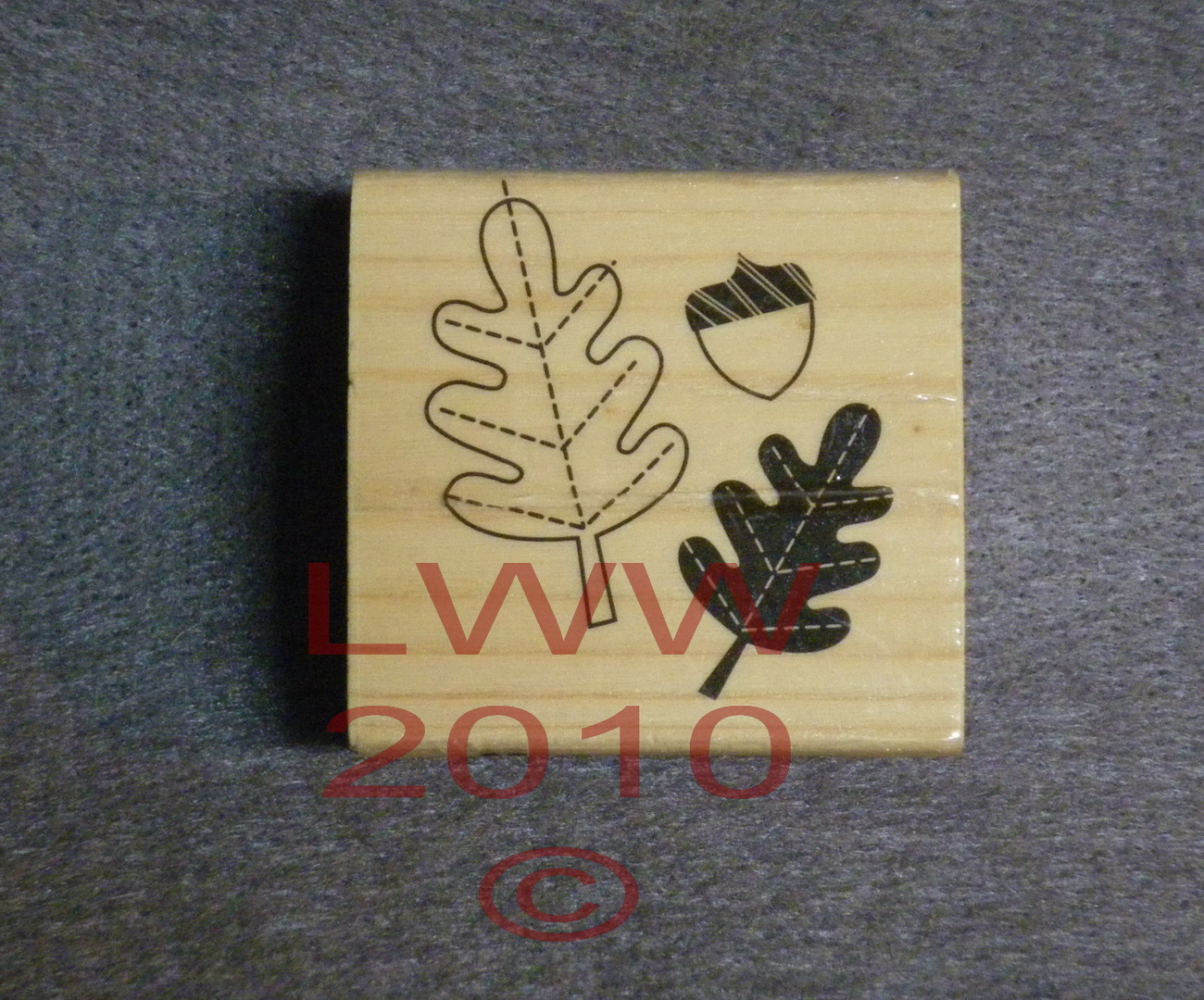 Wood Mounted Oak Leaves Leaf Acorn Rubber Stamp