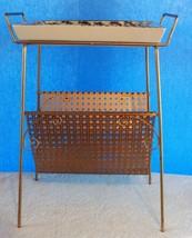 Vintage Mid Century Modern Magazine Shelf Rack w/ Ashtray Brass Pierced ... - $65.44