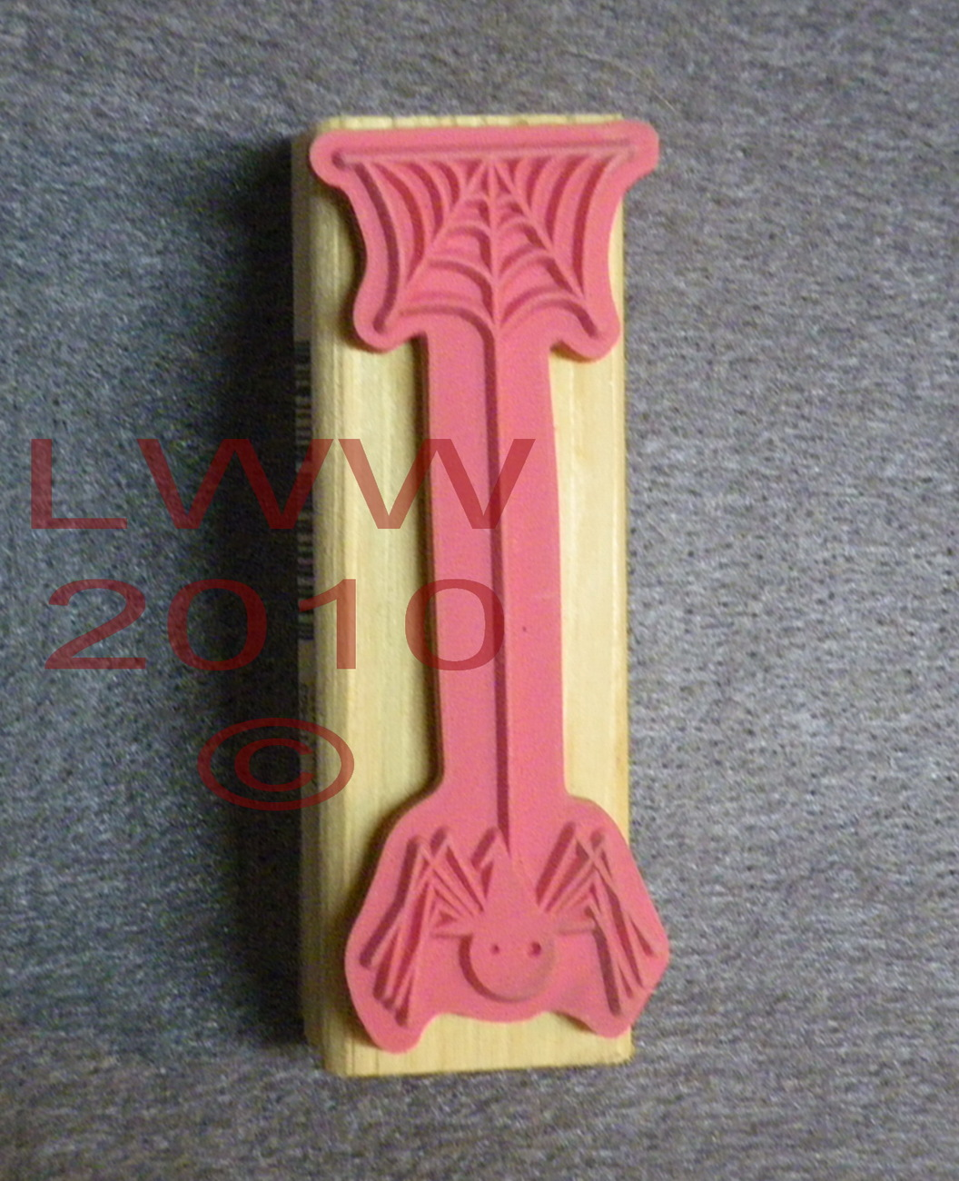Wood-mounted Spider web with Witch hat Rubber Stamp