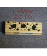 Wood-mounted Halloween Candy Corn & Stars Rubber Stamp  - $3.95