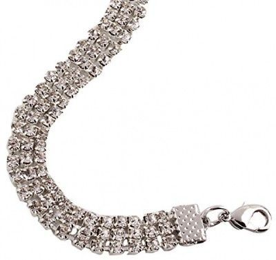 Kissweet Chunky Women Rhinestone Choker Necklace 3 Row Silver Bling Crystal For