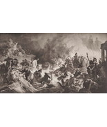 GREEK Persian War Battle of Salamis by Kaulbach - 1905 Lichtdruck Print - $25.20