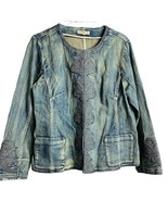 Coldwater Creek Denim Jacket Embroidered Front Large - $35.00