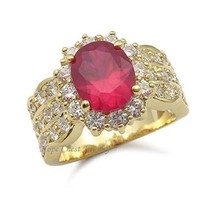 Gorgeous Gold Tone Oval Red Cubic Zirconia Ring - SIZE 7 (LAST 1, SOLD OUT) image 1