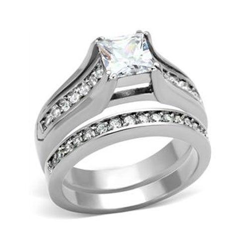 Stainless Steel Princess Cut 1 Carat CZ Engagement & Wedding Rings SIZE 5 - 10