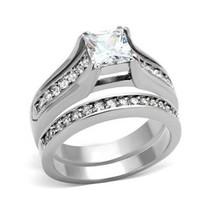 Stainless Steel Princess Cut 1 Carat CZ Engagement & Wedding Rings SIZE 5 - 10 image 1