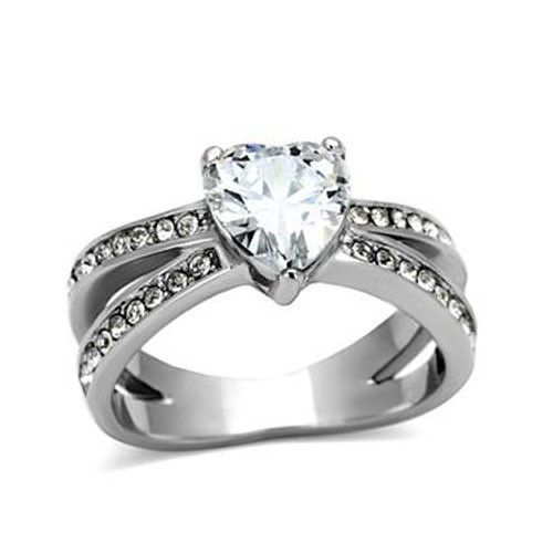 Stainless Steel 3 Prong Heart Shape Cubic Zirconia Engagement Ring - SIZE 5 - 10